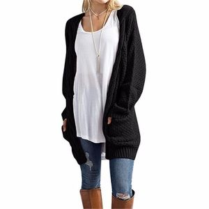 Cable Knit Open Front Cardigan w Pockets Black